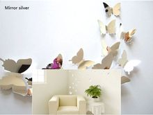 FoodyMine 12Pcs 3D Butterfly Mirror Effect Wall Stickers Art Mural Decal Modern Home Decor