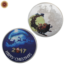 WR Silver Plated Challenge Coin Home Decor Sled Design Customized Christmas Silver Coin Colored Milu Deer Commemorative Coin(China)