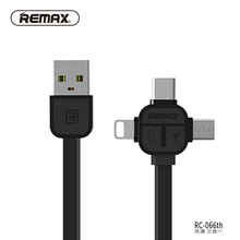 REMAX 3in1 USB C cable Type C 8pin USB Cable to Micro USB Data Cable TPE charging Transfer charger cable for iphone7/6/xiaomi