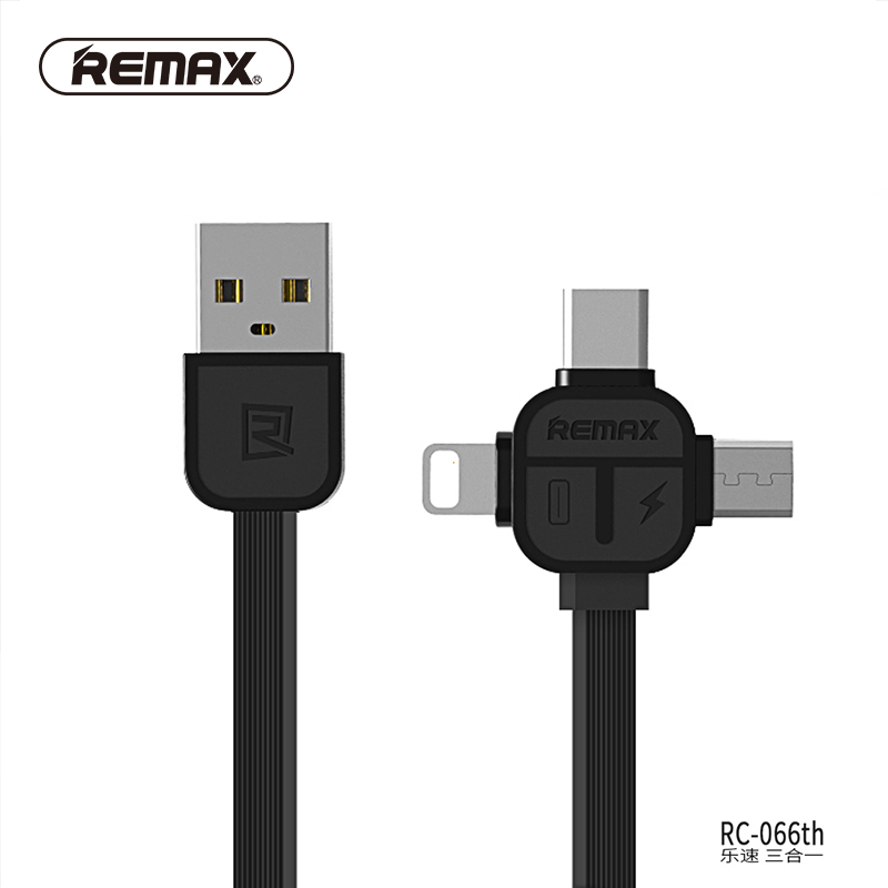 REMAX 3in1 USB C cable Type C 8pin USB Cable to Micro USB Data Cable TPE charging Transfer charger cable for iphone7/6/xiaomi(China)