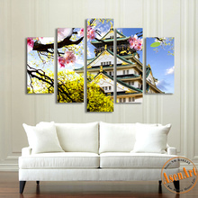 5pcs Japanese Style Canvas Painting Osaka Ancient Building Painting Modern Canvas Prints Wall Picture for Living Room Unframed