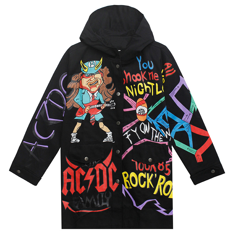 Drop Shipping Scrawl Coat Hip Hop Hoodies Cotton Doodle Rock Jacket Autumn Clothing Us Size S-XL