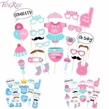 FENGRISE 25pcs Baby Shower Favors Photo Booth Props Its a Boy Girl Fun PhtotoBooth 1st Birthday Party Decoration Blue Pink(China)
