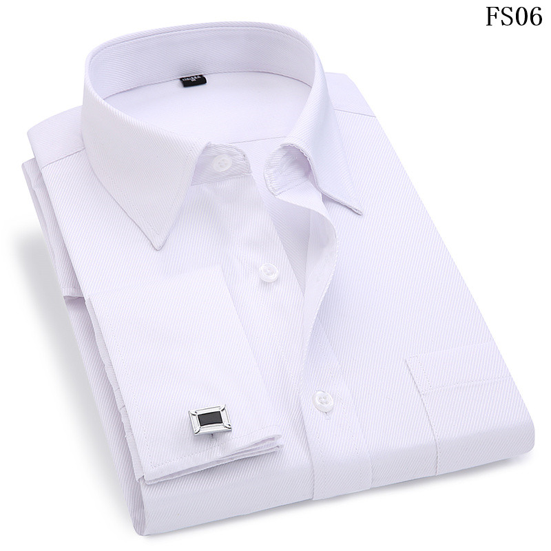 Men French Cufflinks Shirt 19 New Men's Stripes Shirt Long Sleeve Casual Male Brand Shirts Slim Fit French Cuff Dress Shirts 4