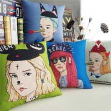 Korea Fresh girl pillow ,hand-painted Weird Beauty Pillow cushion ,Linen pillowcase,home decorative sofa Pillows