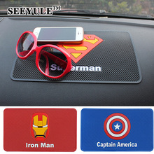 1pc SEEYULE 26.5x16cm Car Anti Slip Mat Superhero Symbol Iron Man Superman Batman Dashboard Non Slip Pad for Phone GPS Holder