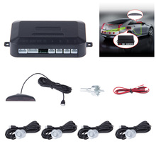 12V Universal Car LED Parking Sensor Reverse Backup Radar System With 4 Sensors Reverse Assistance Backup Radar Monitor System