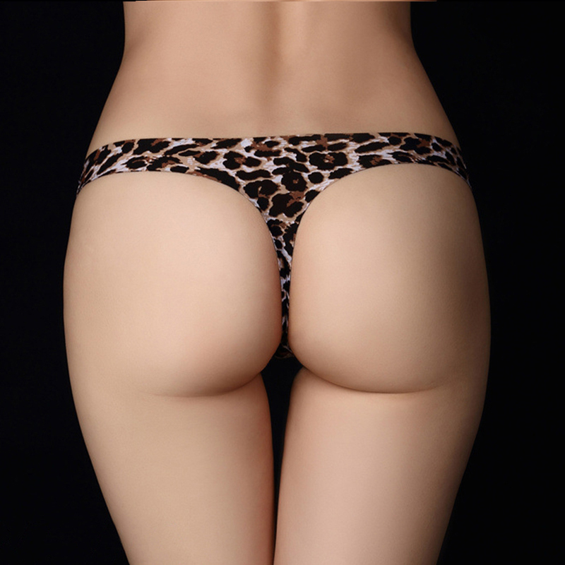 Hipster leopard Sexy Thongs Women Underwear Ice Silk Seamless Invisible Panties Trace Tanga Female Lingerie g String Bikini