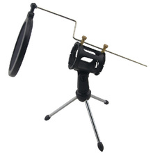 1Pcs Black Desktop Microphone Stand Table Plastic Mini Mic Clip Tripod Holder with Pop Filter Double Mesh Screen
