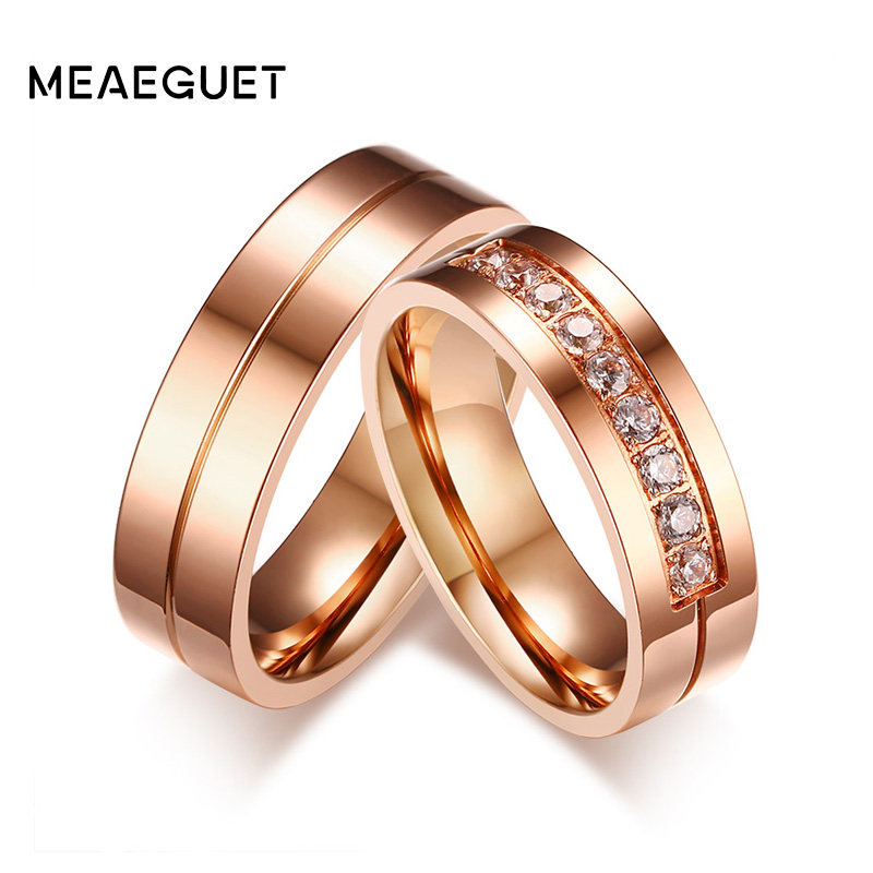 Rainbow Cubic Zirconia Wedding Rings for Women Men 6MM Gold Tone Stainless Steel