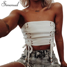 Simenual Lace up 2018 summer crop top tube female bow tie strapless sexy white fitness vest shortened tops cropped camisole sale(China)
