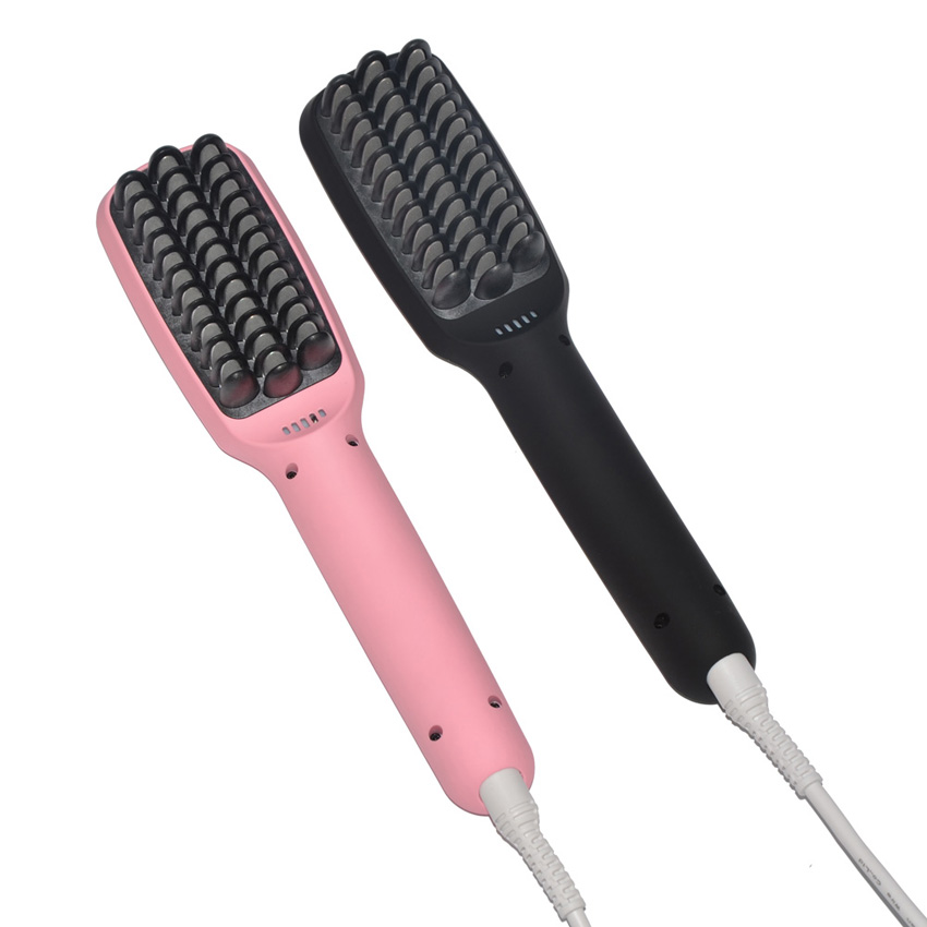 2 In 1 Fast Hair Straightener Brush LCD Ceramic Electric Hair Straight Brush Negative Ions Smooth Hair Straightening Irons Comb<br>