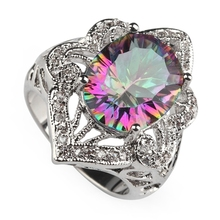 Explosion models Rhodium Plated Rings Rainbow and white Cubic Zirconia R3335 Size #6 7 8 Noble Generous Rave reviews New pattern