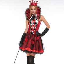 Free Shipping Sexy Poker Queen Nobility Dress Vicious Witch Costume Masquerade Vampire Queen Cosplay Halloween Red Heart Costume