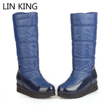 LIN KING Thicken Thermal Women Winter Snow Boots Solid Platform Anti-ski Flats Shoes Medium Calf Thick Sole Waterproof Ski Boots