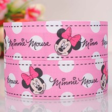 "5 yard 1""(25mm) pink Mickey Minnie head printed cartoon tape DIY handmade hairbow grosgrain ribbon free shipping(China)"
