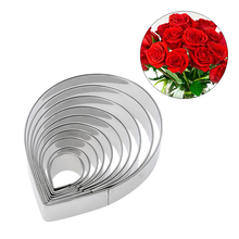 10pcs/set Stainless Steel Metal Fondant Cake Mold Rose Flower Petal Cookie Cutter Biscuit Chocolate Cake Decorating Tools PTSP(China)