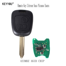 KEYYOU Car remote control Key 2 Buttons 433Mhz For Citroen Saxo Picasso Xsara Berlingo With LOGO