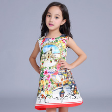 New Chinese Style Fashion Printed Flower Castle Dress Autumn Girls Sleeveless Dressess Children's Party Clothes 16O101
