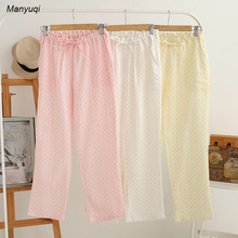 women' cotton pajama pants spot solid color homewear long home pants for women loose night sleepwear clothes(China)