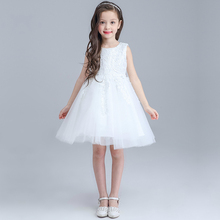 Sun Moon Kids Wedding Dress Girl Summer Lace Costume For Kids New Dress Ceremony Girl Ball Gown Sleeveless Baby Girl Clothing
