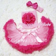 Light Hot Pink Baby Pettiskirt, Hot Pink Peony Pink Crochet Tube Top, Pink Headband Hot PInk Bow 3PC Set MACT163