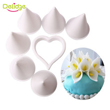 Delidge 7pcs/set Plastic Calla Lily Flower Cake Mold Fondant Cookie Cutter Cake Decorating Mold DIY Wedding Baking Tool