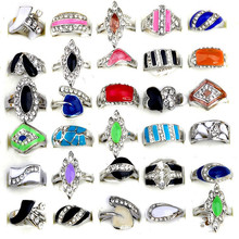 5Pcs/Set Wholesale Mixed Style Rings for Women Silver Color Alloy Enamel Rings Colorful Crystal Jewelry Lowest Price