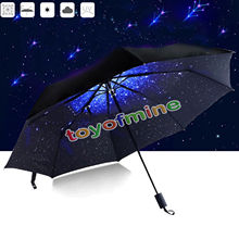 Starry Sky Anti UV Inverted Umbrella Reverse Folding Double Layer Guarda Chuva Self Stand Inside Out Sunny Rain Protection