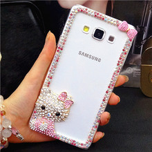 Cute Diamond Glitter 3D Cat Hello Kitty Case Cover For Samsung galaxy S7 S6 edge Plus Note 4 5 C5 C7 with package(China)