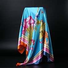Women's Fashion Flower Silk Satin Square Scarf 2016 New Brand Silk-like Big Size Head Beach Shawl Scarves 90cm*90cm(China)