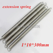 4pcs/lot 1x10x300mm stainless steel extension spring tension spring 1*10*300mm