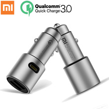 Original Xiaomi Car Charger QC3.0 X2 Full Metal Dual USB Smart Control Quick Charge 3A 36W with Extension Port