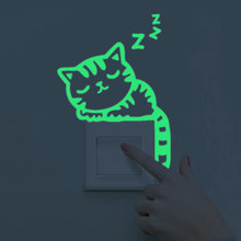 Maruoxuan Luminous Home Decoration Diy Funny Animals Cute Switch Sticker Glow In The Dark Living Room Fluorescent Sticker(China)