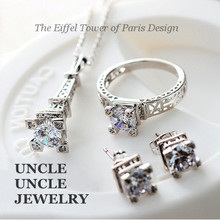 The Eiffel Tower of Paris Design!!! White Gold Color Zircon Champs Elysees Kiss Jewelry Set Necklace/Earrings/Ring Wholesale(China)