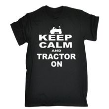 Keep Calm and Tractor on T-SHIRT Tee Farm Farmer Funny Birthday Gift Present Him O-Neck Summer Personality Fashion Men T Shirts(China)