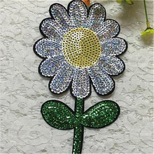 Patch deal with it sequins sunflower logo design fashion girl clothes women motif embroidery patches for clothing free shipping(China)