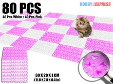 New 8 Packs of  Plastic Floor Mat Tiles Indoor / Outdoor Home Decor 30 x 20 cm Heart Pattern Color Combination KK1130