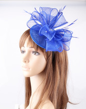 16 Colors OEM Design Blue Wedding Bride Hair Fascinator Headwear Sinamay Base Loops Adorned Cocktail Hairpin Hair Accessories