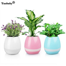 Tanbaby Wireless Bluetooth Smart Flower Pot LED Vase Lamp Touch Sensor Music Speaker RGB Night Light Home Bedroom Decoration(China)