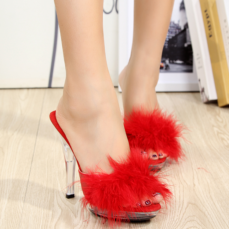 2017 New Design Womens Sexy Crystal Slippers 12cm High-heeled Fur Shoes Rome Style Platforms Sandals <br><br>Aliexpress