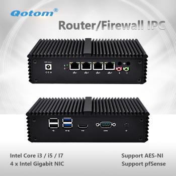 Qotom Mini PC Q300G4 Core i3 i5 i7 with 4 Gigabit NIC Support AES-NI Pfsense as