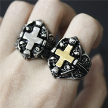 2017 New Fashion Skull Head Cross Ring 316L Stainless Steel Jewelry Fashion Gothic Cool Style Skull Biker Ring