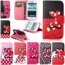 3D Bowknot Magnet Style Leopard Leather Flip Card Slot Pouch Wallet Case Cover For Samsung Galaxy S3 MINI I8190