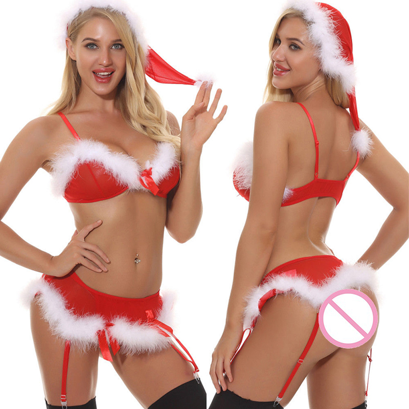 Lady Sex Erotic Underwear Sets Christmas Lingerie Sets Women Sexy Pajamas Babydoll Sleepwear Ladies Red Fancy Dress Costumes