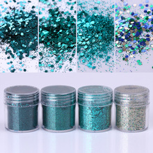 1 Box 10ml Dark Green Glitter Powder Hexagon Round Paillette Nail Sequins Nail Art Decoration