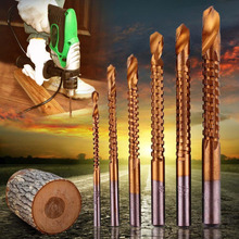 6pcs Professional Titanium Coated HSS Drill Bit Electric Drill Plastic Metal Hole Grooving Drill Saw Carpenter Woodworking Tools