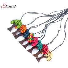 Shinus Necklace Women Jewelry Statement Maxi Long Necklaces Boho Ethnic Tree Of Life Rainbow Pendant Wooded Handmade Beads Gift