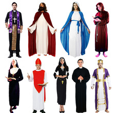 2018 Kids Adults Jesus Drama Priest Costumes Pope Nun Cosplay Costume Women Men Boy Girl Halloween Dress Party Supplies Purim(China)