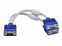 high quality 1 computer to dual 2 monitor vga splitter cable video Y splitter 15 pin two ports vga male to female(China)